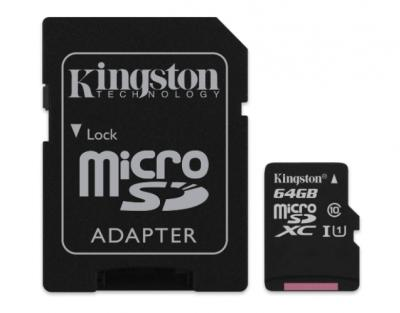 KINGSTON 64GB microSDXC class10 s adaptérom
