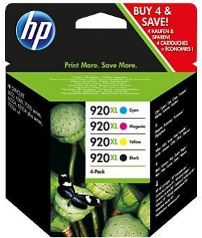HP 920XL čierna, azúrová, purpurová a žltá atramentová kazeta