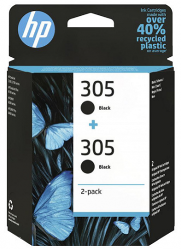 HP 305 čierna atramentová kazeta dvojbalenie