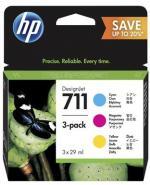 HP 711  azúrová, purpurová a žltá atramentová kazeta trojbalenie